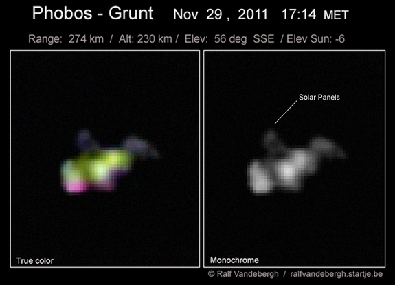 Skywatcher Ralf Vandebergh snapped this shot of the stranded Russian Mars probe Phobos-Grunt on Nov. 29, 2011, from the southern Netherlands.