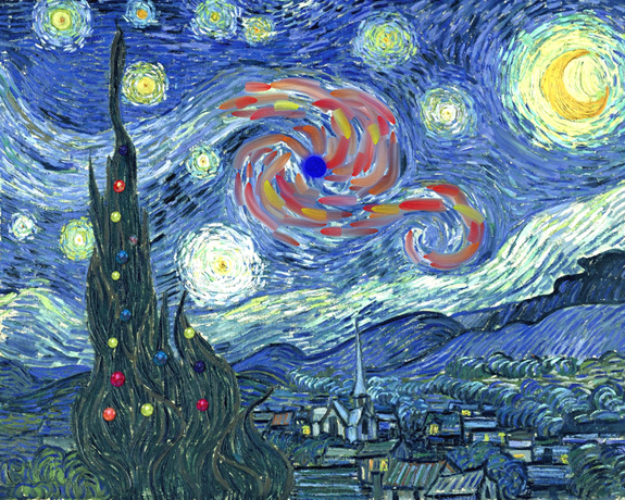 The Christmas burst as it might have been painted by Vincent van Gogh.