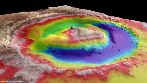 Gale Crater: Target for Curiosity Mars rover.