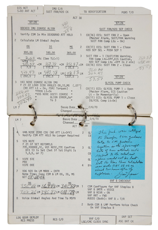 "A checklist used by Apollo 13 commander James Lovell to power-up the ""lifeboat"" lunar module that saved his and his crewmates lives sold on Nov. 30, 2011 for $388,375 at an auction in Dallas, Texas"