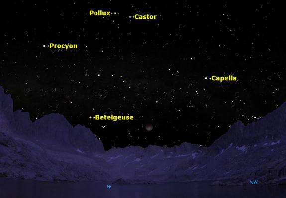 A total lunar eclipse will occur at dawn on Saturday, Dec. 10, 2011. The graphic shows how it will look just before dawn in central California, surrounded by first magnitude stars.