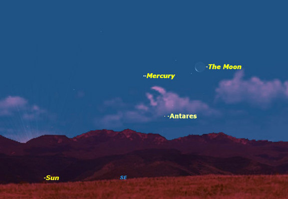 On Thursday, Dec. 22, 2011, the moon will be just to the right of Mercury.