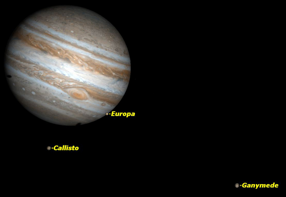 Three of Jupiter's moons will be visible on Tuesday, Dec. 27, 2011.