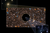 This figure shows the immense size of the black hole discovered in the galaxy NGC 3842. NGC 3842, shown in the background image, is the brightest galaxy in a rich cluster of galaxies. The black hole is at its center and is surrounded by stars (shown as an artist's concept in the central figure). The black hole is seven times larger than Pluto's orbit. Our solar system (inset) would be dwarfed by it.