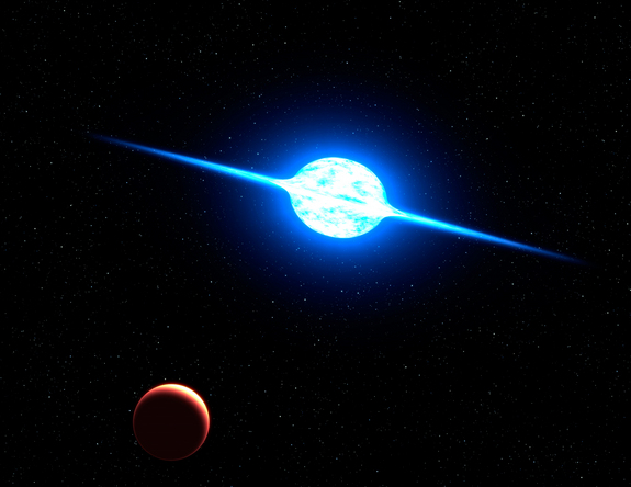 This is an artist's concept of the fastest rotating star found to date. The massive, bright young star, called VFTS 102, rotates at about 1.24 million miles (two million kilometers) per hour. Centrifugal force from this dizzying spin rate has flattened the star into an oblate shape, and spun off a disk of hot plasma, seen edge on in this view from a hypothetical planet.