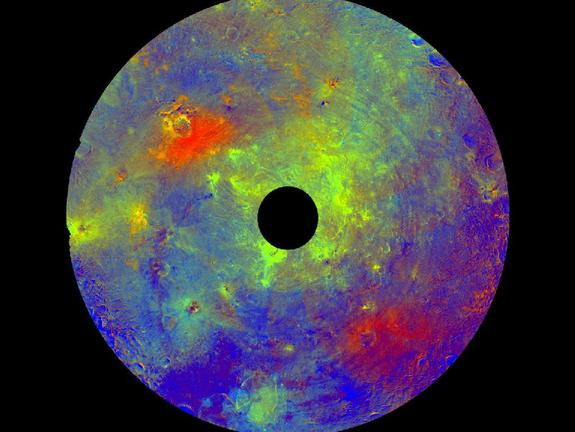 This image using color data obtained by the framing camera aboard NASA's Dawn spacecraft shows Vesta's southern hemisphere in color, centered on the Rheasilvia formation. Rheasilvia is an impact basin measured at about 290 miles (467 kilometers) in diameter with a central mound reaching about 14 miles (23 kilometers) high. The black hole in the middle is data that have been omitted due to the angle between the sun, Vesta and the spacecraft.
