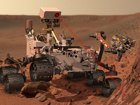 An artist's concept of NASA's Curiosity rover searching for interesting samples on the Martian surface.