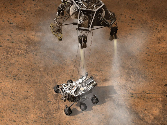 The Curiosity rover touches down on the Martian surface in this artist's rendition.