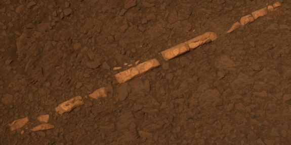 "This color view of a mineral vein called ""Homestake"" comes from the panoramic camera (Pancam) on NASA's Mars Exploration Rover Opportunity."