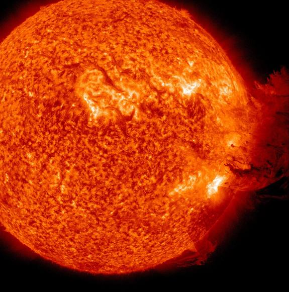 A coronal mass ejection as viewed by NASA's Solar Dynamics Observatory on June 7, 2011.