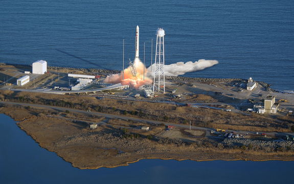 Orbital Sciences Corporation announced on Dec. 12, 2011 that Antares™ will be the permanent operational name for the medium-class launch vehicle created by its research and development program formerly known as Taurus II.  This artist's impression shows the rocket lifting off.