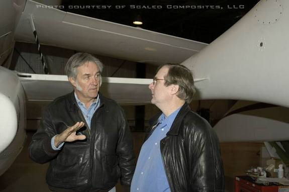 Aerospace designer Burt Rutan (left) and Microsoft co-founder Paul Allen (right). Rutan's company, Scaled Composites, designed SpaceShipOne, the privately-built suborbital rocket plane that snagged the $10 million Ansari X Prize in 2004. SpaceShipOne was bankrolled by Allen. Rutan retired from Scaled Composites in April 2011.