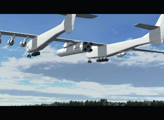 A video still by Stratolaunch Systems indicates their aircraft will possess a gross weight of over 1.2 million pounds.