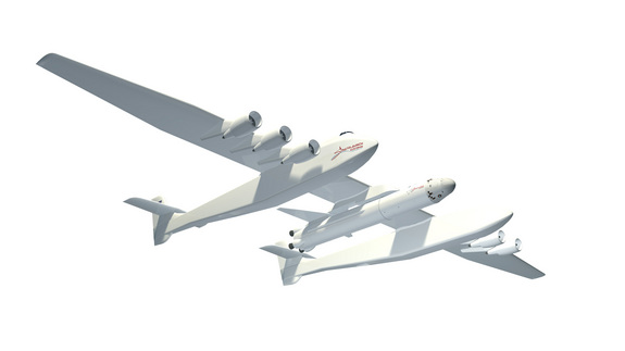 This image released by Microsoft co-founder Paul Allen's Stratolaunch Systems spotlights the company's giant twin-boom aircraft launch pad for private spaceflights.