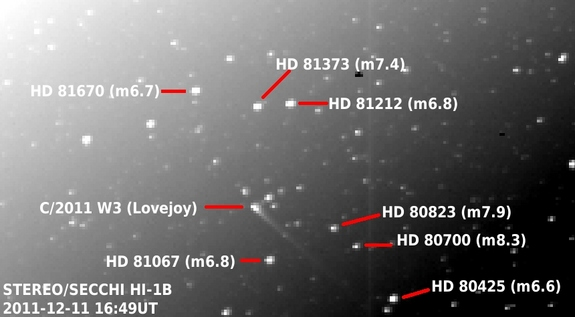 Data from NASA's STEREO spacecraft show the sungrazing comet Lovejoy in relation to background stars on Dec. 11, 2011.