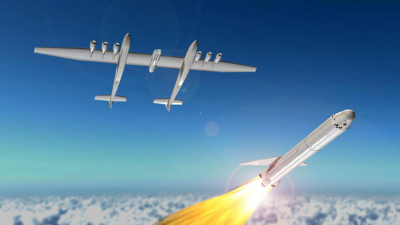 An artist's impression of the Stratolaunch Systems carrier aircraft releasing a rocket.