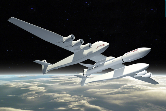 This image shows the planned Stratolaunch Systems carrier aircraft.