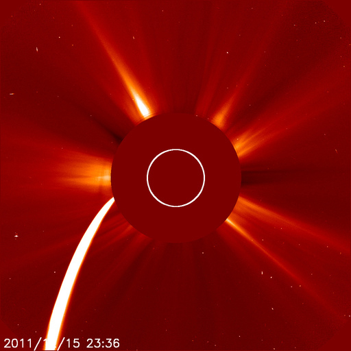 Comet Lovejoy hurtled towards the sun on December 15, 2011, as seen by the SOHO spacecraft.