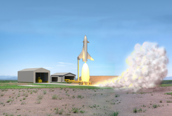 Lockheed Martin's  proposal for a Reusable Booster System would glean data from this pathfinder vehicle — a vertical launch, horizontal landing craft. This illustration shows how the vehicle could launch from a ground station.