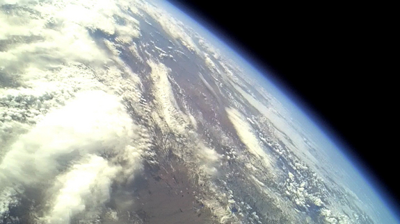 View of Earth above Spaceport America from Armadillo Aerospace's  STIG A rocket flight at apogee (highest point) on Dec. 4, 2011.