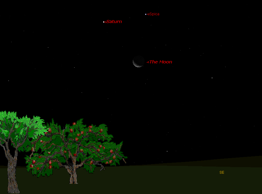 Saturn Forms Sky Triangle with Moon & Star Early Tuesday