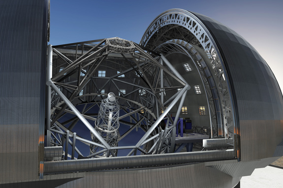 June 2009 version of the design of the European Extremely Large Telescope (E-ELT) in its enclosure, currently being planned by ESO.