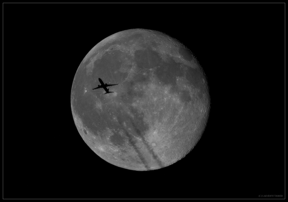 Spectacular Silhouette: Skywatcher Sees Plane Crossing Small Full Moon