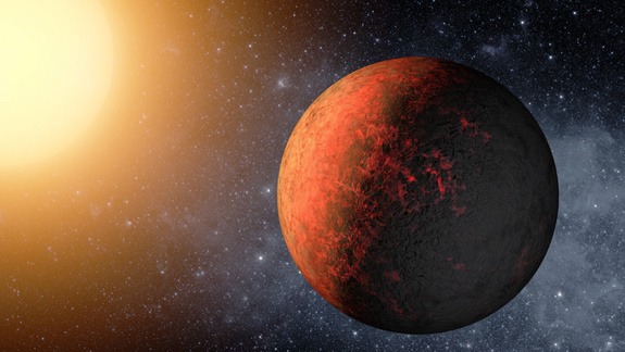 An artist's rendering of the newfound alien planet Kepler-20e, which scientists say is smaller than Earth, at about 0.87 times the width of our planet.