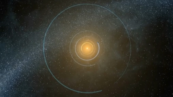 This still from a NASA animation shows the orbits of the five planets residing in the Kepler-20 star system 950 light-years from Earth. The alien solar system is home to two Earth-size planets, the first such exoplanets ever found.
