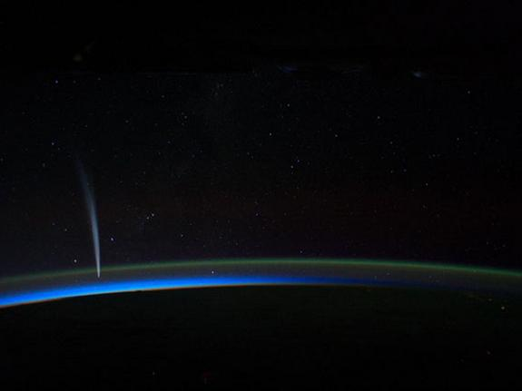 International Space Station Commander Dan Burbank captured spectacular imagery of Comet Lovejoy from about 240 miles above the Earth's horizon on Wednesday, Dec. 21, 2011.