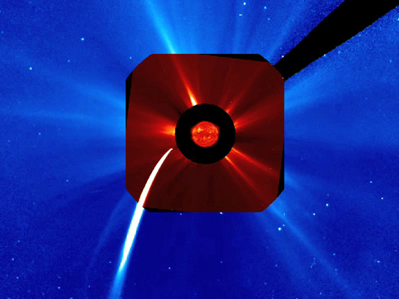 Comet Lovejoy skimmed across the Sun's edge about 140,000 km above the surface late Dec. 15 and early Dec. 16, 2011, furiously brightening and vaporizing as it approached the Sun. This images shows the comet during that time as seen by the SOHO spacecraft.