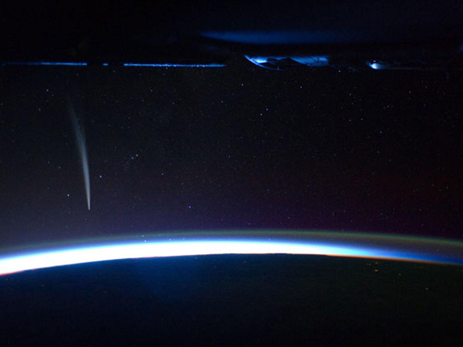 Comet Lovejoy from ISS