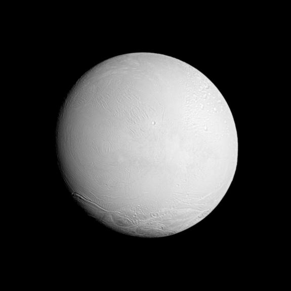This photo shows the leading hemisphere of Saturn's moon Enceladus. The image was captured on Nov. 6, 2011 by NASA's Cassini spacecraft, when the probe was about 67,700 miles (109,000 kilometers) from the icy moon.
