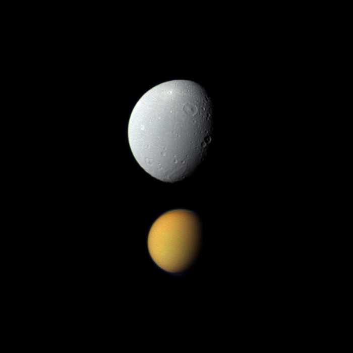 Saturn's Moons Titan & Dione