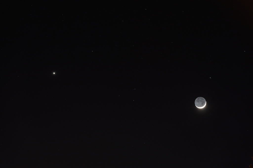 Venus & the Moon Over Texas by Ted Mauerer