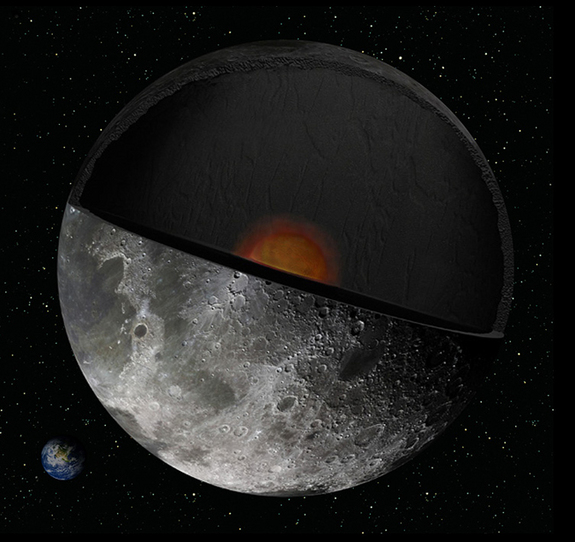 An artist's concept of the moon's interior. NASA's twin GRAIL probes will gather data that should help scientists better understand the moon's composition and evolution.