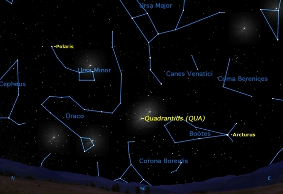 The first major meteor shower of 2012 takes place on the night of Tuesday, Jan. 3 and the morning of Wednesday, Jan. 4. It peaks at 2 a.m. EST (0700 GMT) on Jan. 4.