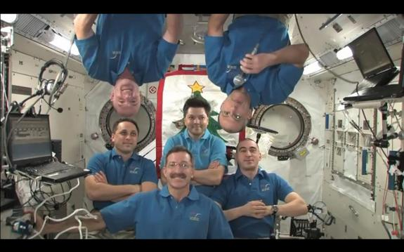 Six space station astronauts will celebrate New Year's in space. Top (left to right): European astronaut Andre Kuipers and American Don Pettit. Bottom (left to right): Russian cosmonaut Anton Shkaplerov, American Dan Burbank, and cosmonauts Oleg Kononenko and Anatoly Ivanishin.