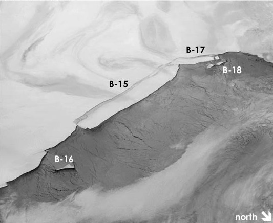 Mama iceberg: B-15, seen here on April 13, several weeks after it calved from the Ross Ice Shelf.