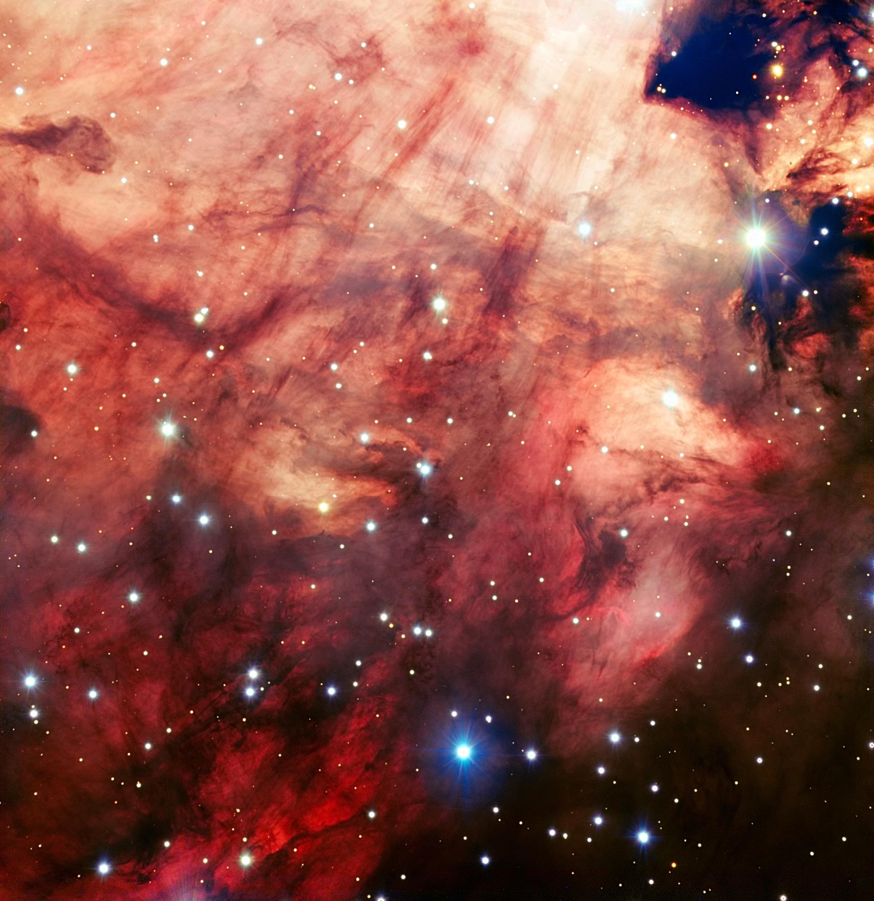 Omega Nebula's Bright Pink Heart