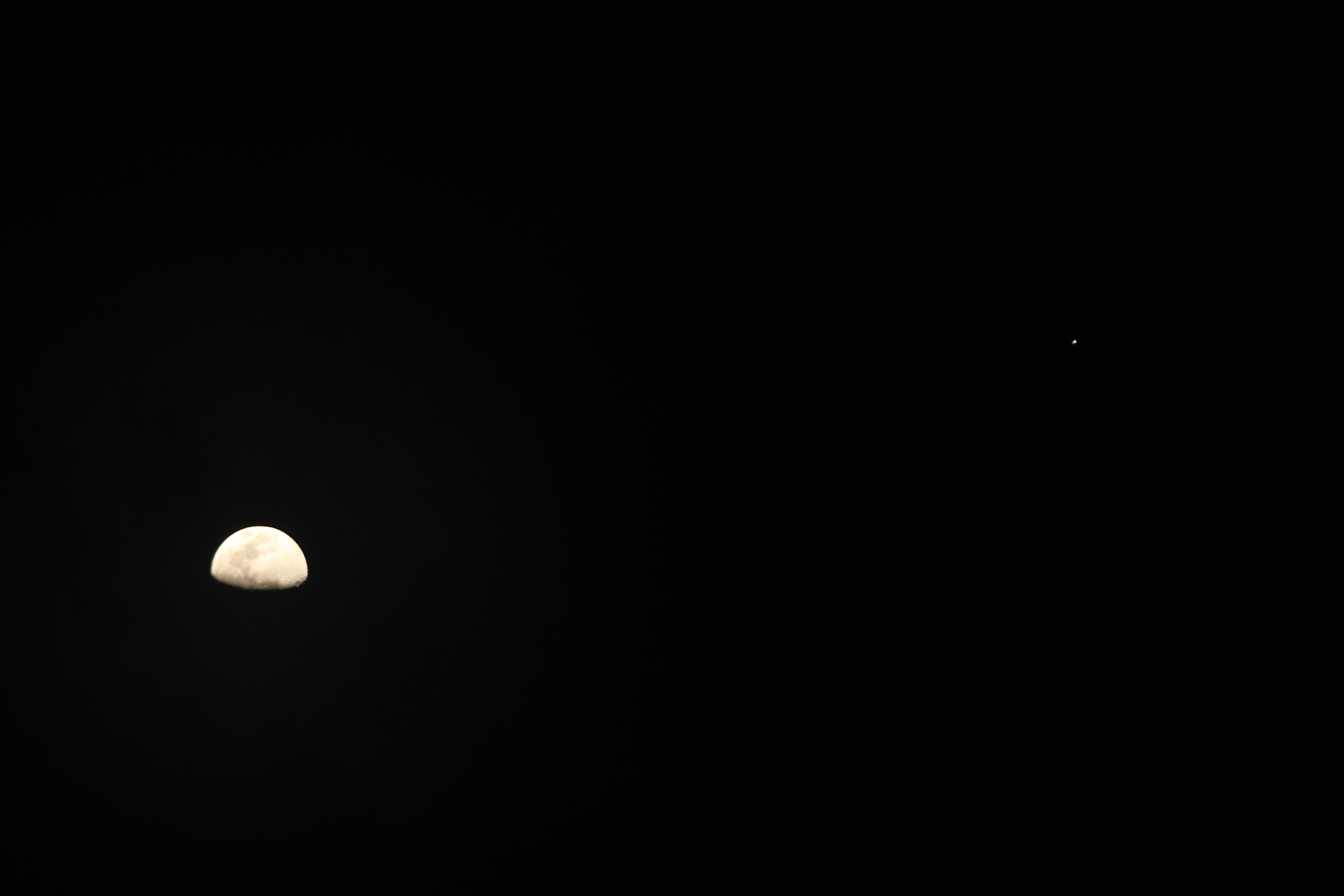 The Moon and Jupiter Seen near Sequim, Washington
