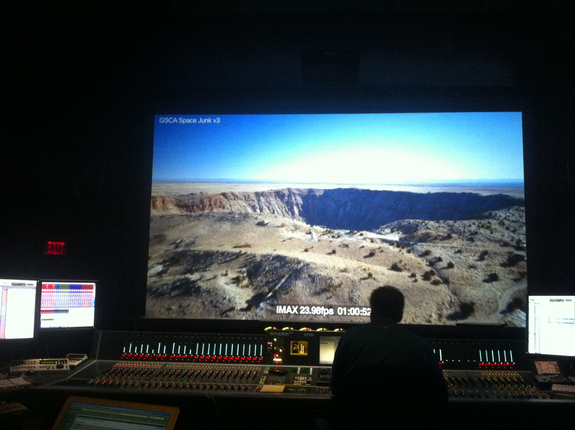 Mixing 6.0 surround sound at Technicolor Toronto in the making of Space Junk 3D.