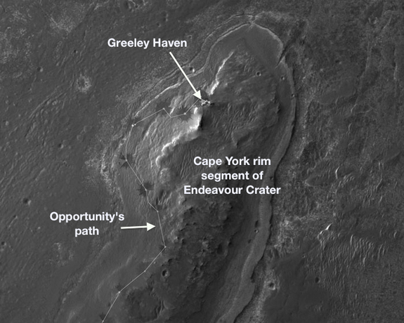 "NASA's Mars Exploration Rover Opportunity will spend its fifth Martian winter working at a location informally named ""Greeley Haven"" in 2012."