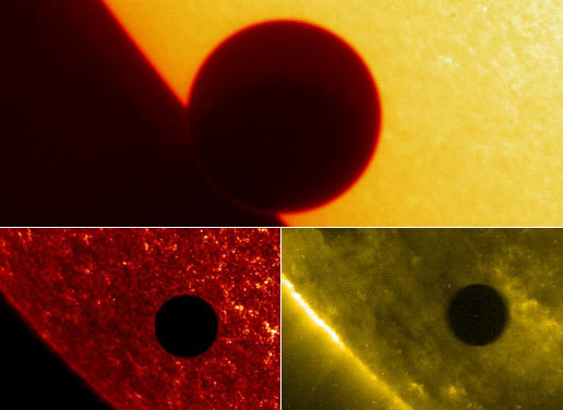 Three views of Venus' solar transit in 2004, taken by NASA's sun-observing TRACE spacecraft. The top image is in visible light; the view on bottom left is in the ultraviolet, and the one on bottom right is in the extreme ultraviolet.