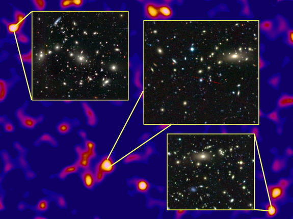 The densest regions of the dark matter cosmic web host massive clusters of galaxies.