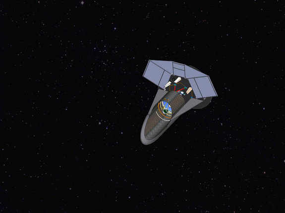 An artist's concept of the Fast INfrared Exoplanet Spectroscopy Survey Explorer (FINESSE), a proposed mission.