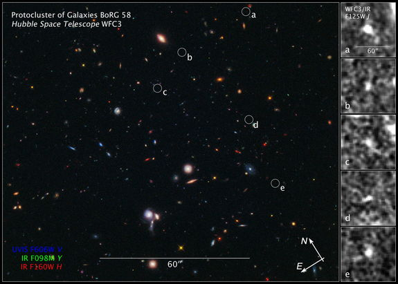 Compass and scale image of Borg 58 galaxy field.