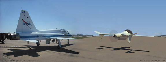 A comparison of AVIATR's size with that of a NASA T-38N (left).