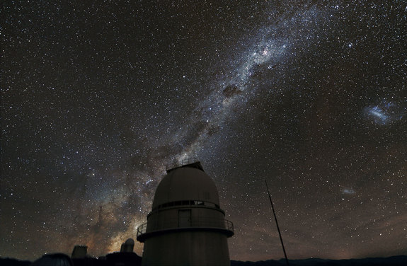 The Milky Way above the dome of the Danish 1.54-metre telescope at the European Southern Observatory's La Silla Observatory in Chile. This telescope was a major contributor to the PLANET project to search for exoplanets using microlensing.