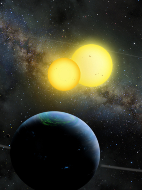 An artist's illustration of Kepler-35 b, a Saturn-size planet around a pair of sun-size stars, as envisioned by artist Lynette Cook.  The discovery of Kepler-35b and another twin sun planet, Kepler-34 b, was announced Jan. 11, 2012 and represent a new class of circumbinary planets.